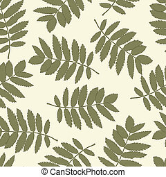 Seamless pattern with autumn leaves of a mountain ash - Ash...