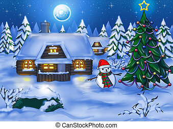 Winter Night - Illustration of houses at night time during...