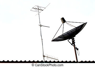 Satellite dish and Radio Atenna on the Roof