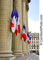 French tricolor flags hang on the Pantheon during the Fete...
