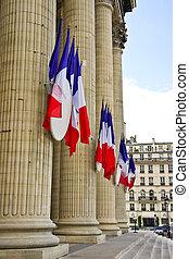 francés, tricolor, banderas, Cuelgue, panteón,...