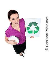 secretario, actuación, reciclaje, logotipo