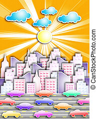 big city - A big city with cars on the road. The hot...