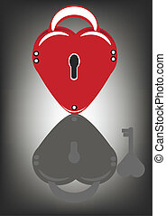 Lock in the heart-shaped