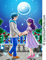 Under The Moonlight - Cartoon illustration of a couple...