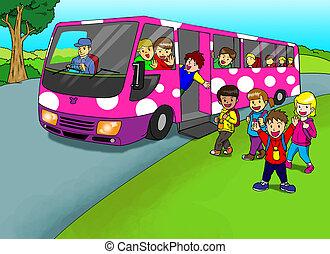 Excursion - Cartoon illustration of children going on...