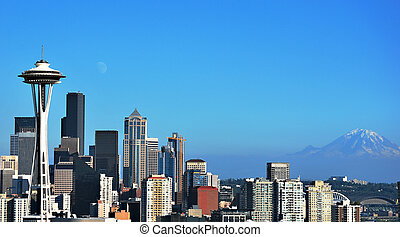 Beautiful Seattle - Seattle,the Space Needle and Mt. Rainier...