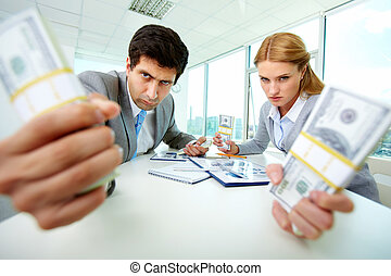 Aggressive accountants - Image of angry employees with...