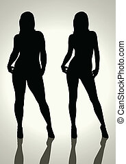 Before and After - Silhouette illustration of a fat and slim...