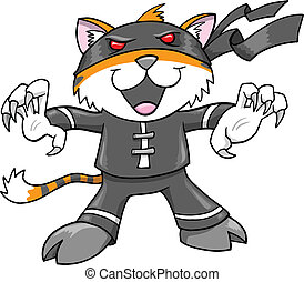 Warrior Ninja Tiger Cat Vector Illustration