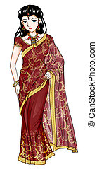 India Traditional Costume - Cartoon style illustration of...