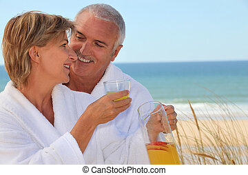 Couple stood at the beach