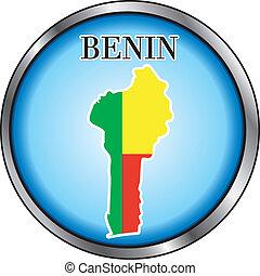 Benin Round Button - Vector Illustration for Benin, Round...