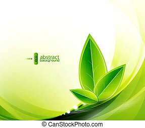 Vector eco leaves and green wave - Vector illustration for...