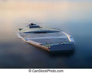 boat in the fog - sinking boat in the fog