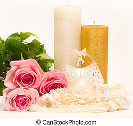 candle and pink roses - Romantic still-life with candle and...