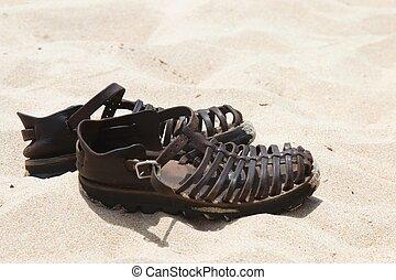 couro, sandálias, Areia