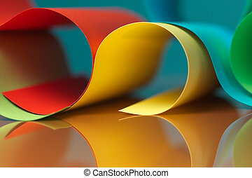 detail of waved colored paper structure - background macro...