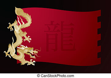 golden dragon on red flag vector