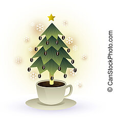christmas tree coffee cup vector graphic