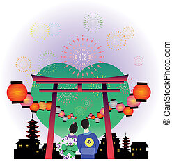 japanese summer festival vector graphic