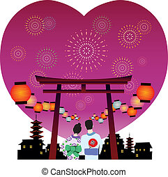 japanese summer festival vector graphic with heart shaped...
