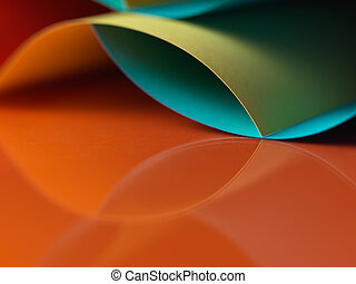 abstract colored paper structure on orange background -...