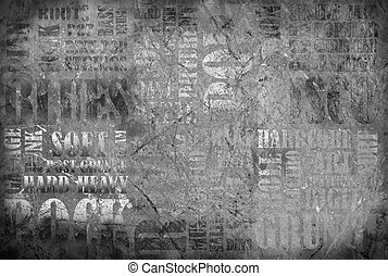 Old Rock Music poster on grunge wall