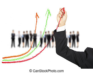 hand drawing business graph by colors chalk