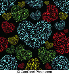 Vector illustration of colorful musical heart shape with seamless pattern on black background for Valentines Day.