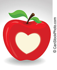 Vector, red apple with a heart symbol on isolated background.