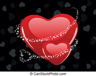 Vector illustration of two heart shape with shiney stars on...