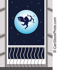 Vector illustration of Cupid flying in the sky and taking aim on night scene background for Valentines Day.