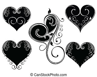 Vector illustration of vintage design heart shape decorated...