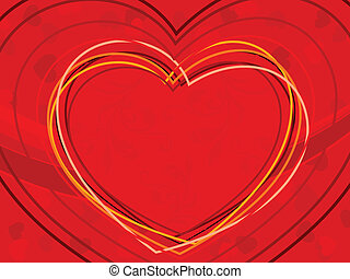 vector illustration of heart shapes made with colorful lines...