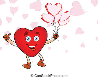 Happy Heart shape holding pink balloons in heart shape on seamless background for Valentines Day.