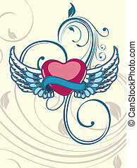 Heart shape having floral decorative wings in blue color on seamless floral background for Valentine Day.