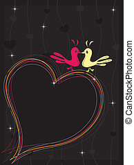 A colourful heart made with lines and the couple of two love birds on seamless background for Vector illustration