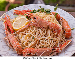 shrimps with pasta - shrimps cooked with italian pasta with...