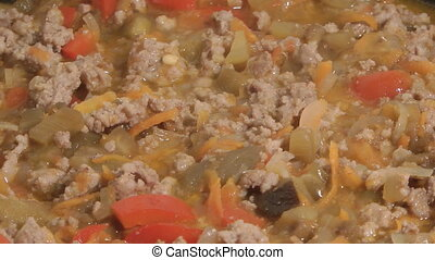 Meat ragout - Stewed vegetables with mincemeat
