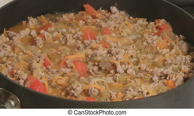 Meat ragout. - Stewed vegetables with mincemeat.