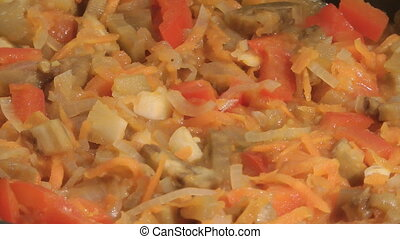 Ragout. - Vegetables stewed on a frying pan.