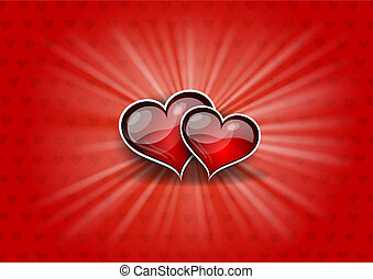 two hearts on the red background