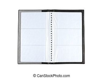Business card book - Opened business card book over white...