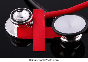 Red Cross with stethoscopes
