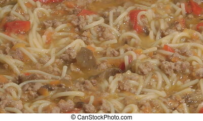 Meat ragout - Stewed vegetables with mincemeat and macaroni...