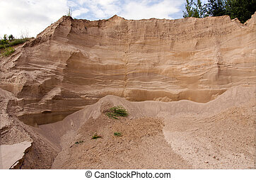 industrial sand quarry fragment and sky