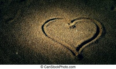 heart on sandy beach,wind blow sand