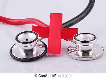 Red Cross with red and black stethoscopes