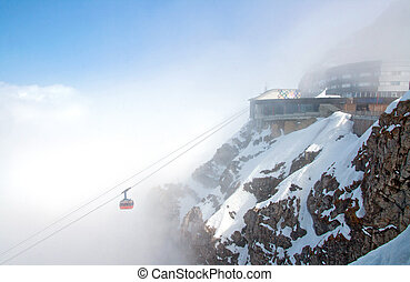 Pilatus Mountain Alps - Red Cable Car Railway and Landscape...